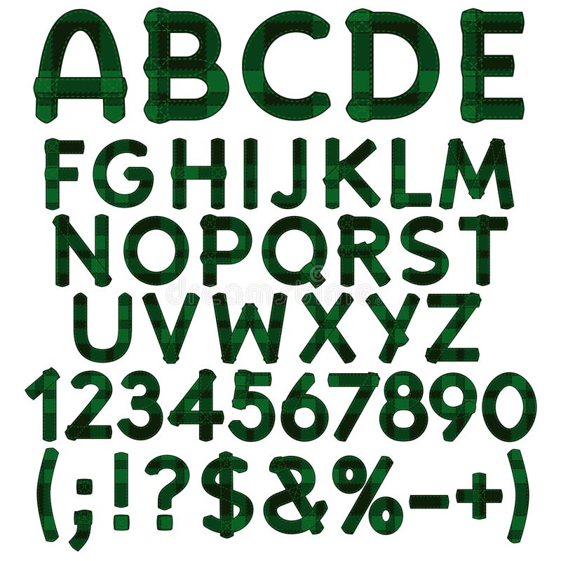 Alphabet, letters, numbers and signs from green cloth tartan. Isolated vector objects. stock illustration