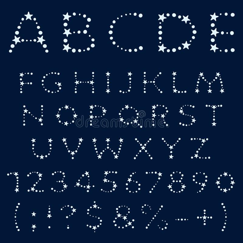 Alphabet, letters, numbers and signs from stars. Isolated objects. royalty free illustration