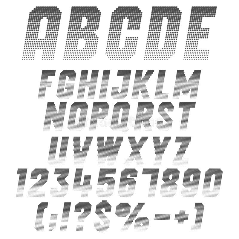 Alphabet, letters, numbers and symbols from pixels. Set of isolated vector black and white objects. Alphabet, letters, numbers and symbols from pixels. Set of stock illustration