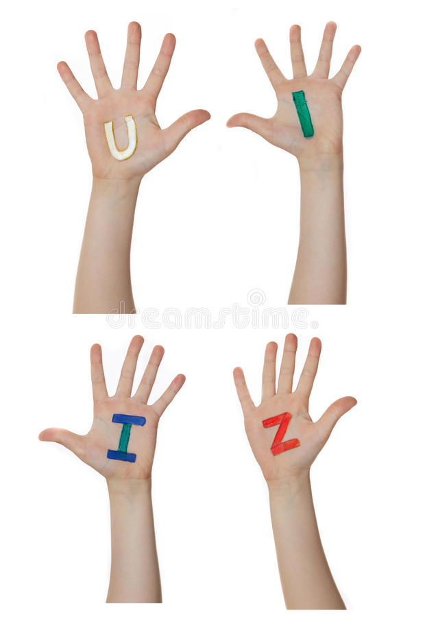 Alphabet (letters) painted on children hands. Rises up hands. Alphabet (letters) painted on children hands. Rises up hands stock images