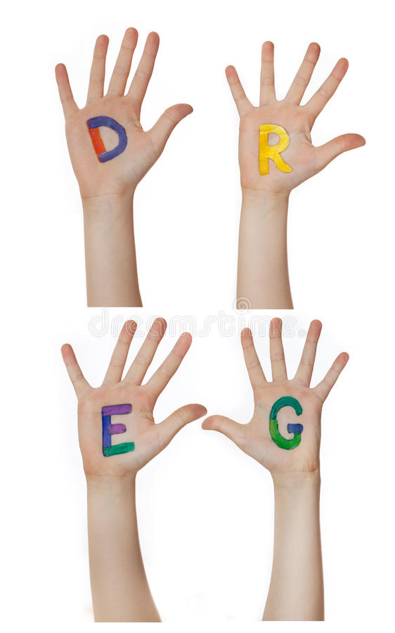 Alphabet (letters) painted on children hands. Rises up hands. Alphabet (letters) painted on children hands. Rises up hands stock photos