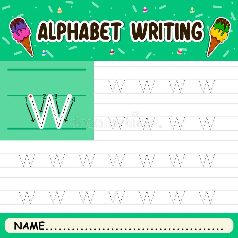 Alphabet writing. Alphabet letters tracing worksheet with all alphabet letters vector illustration