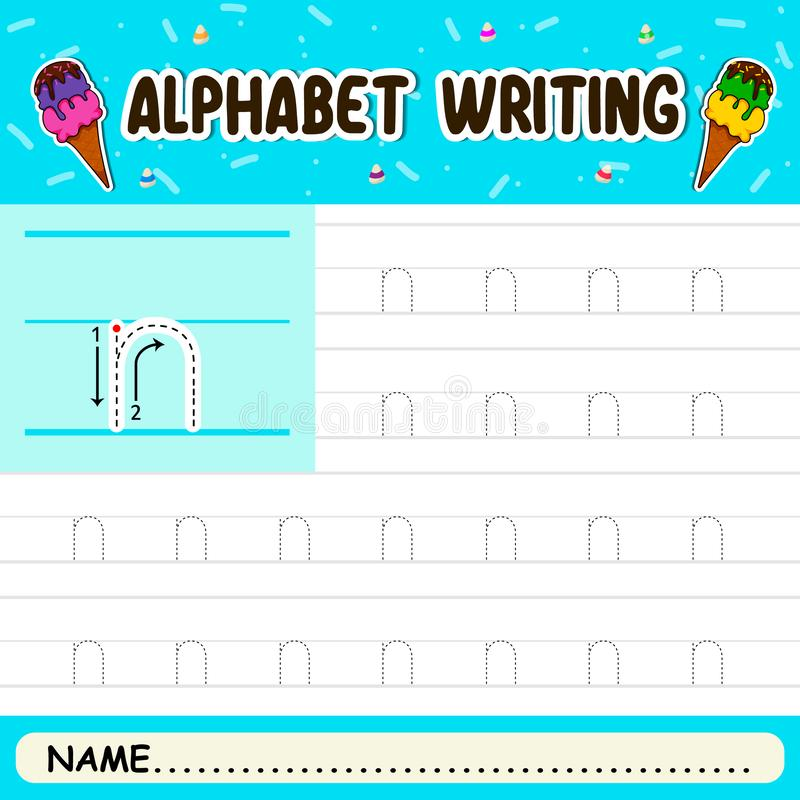 Alphabet writing. Alphabet letters tracing worksheet with all alphabet letters royalty free illustration