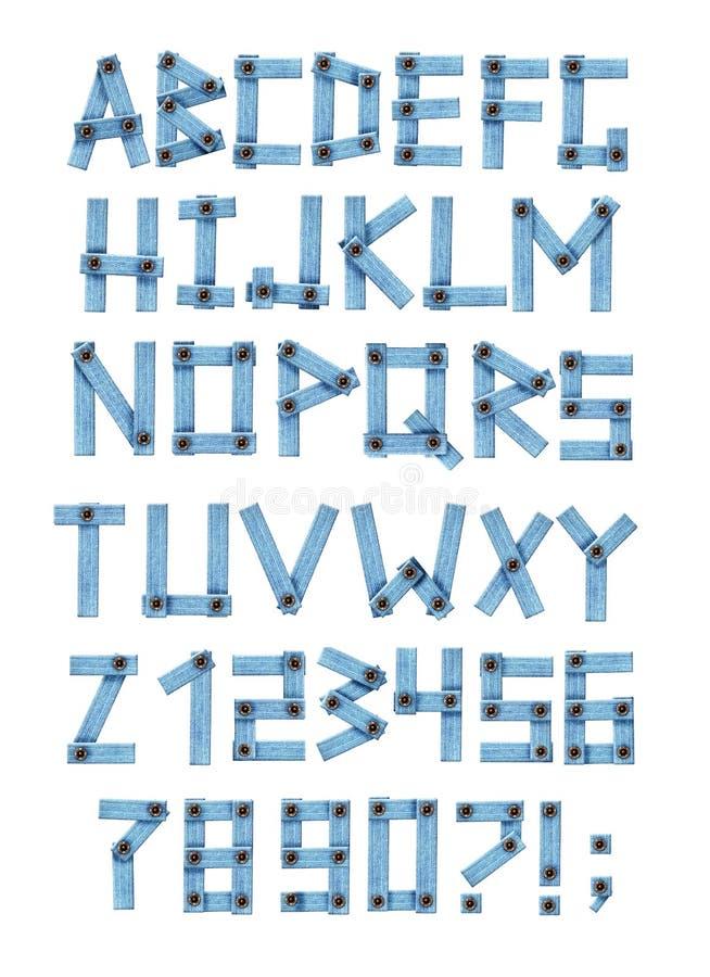 Alphabet - lettres d'un tissu de jeans illustration stock