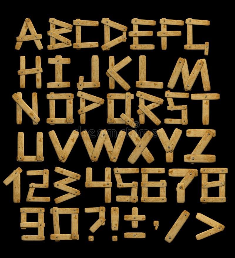 Alphabet - lettres des panneaux en bois avec des rivets illustration stock