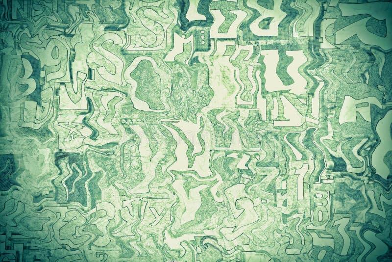 Alphabet, lettres et nombres verts comme fond image stock