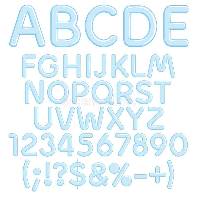 Alphabet, lettres, nombres et signes de glace Objets d'isolement illustration libre de droits