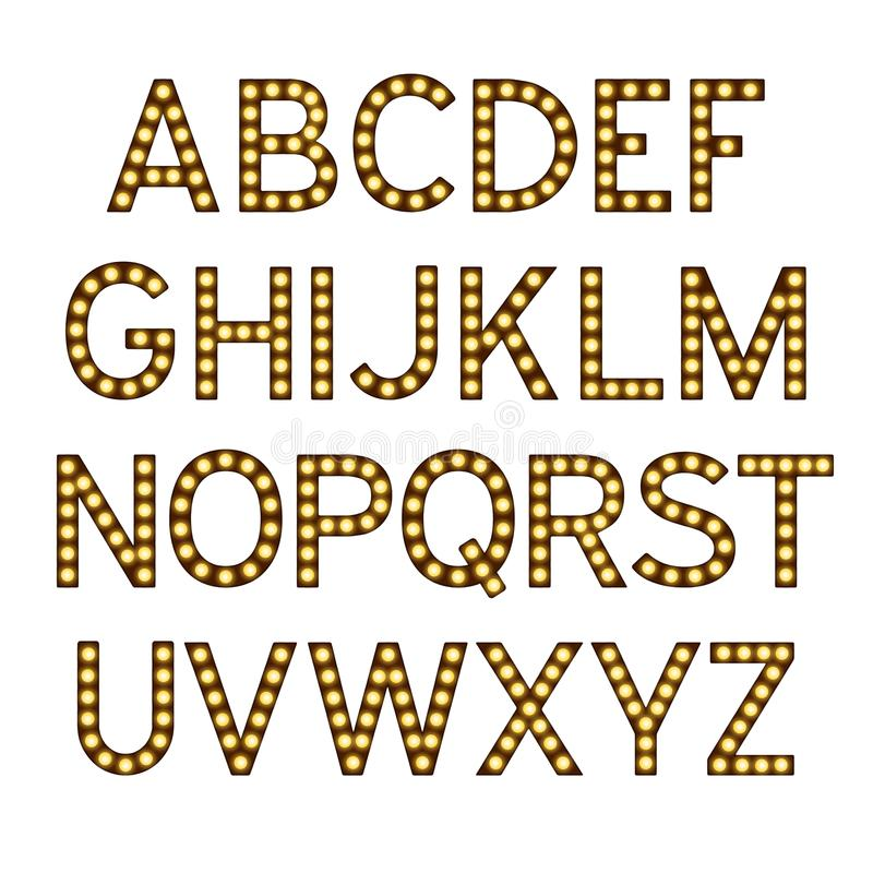 Alphabet with light bulbs, letters with lamps, lamp font, glowing letters imitation, vector illustration. Eps 10 vector illustration