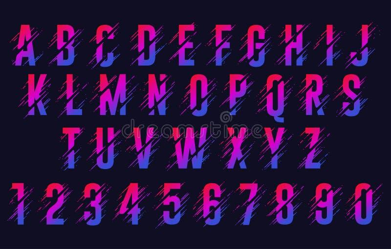 Alphabet letters, stylized colorful abc, liquid ink font. Vector. Alphabet with liquid splash letters and drops, abstract colorful ink abc, stylized dynamic royalty free illustration