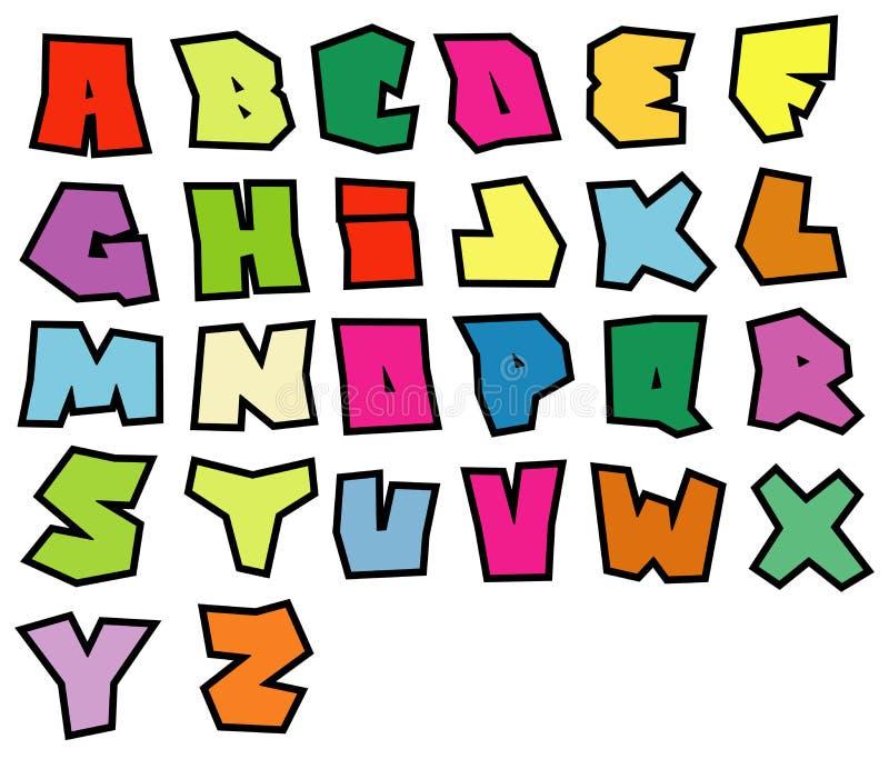 Alphabet lisible de polices de graffiti au-dessus de blanc dans la couleur multiple illustration libre de droits