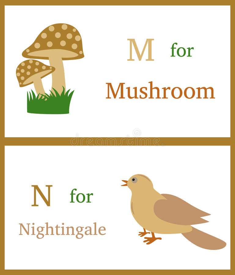 Alphabet M and N. With illustrations of mushroom and nightingale useful for kids learning. Visit: https://graphixandcode.com royalty free illustration
