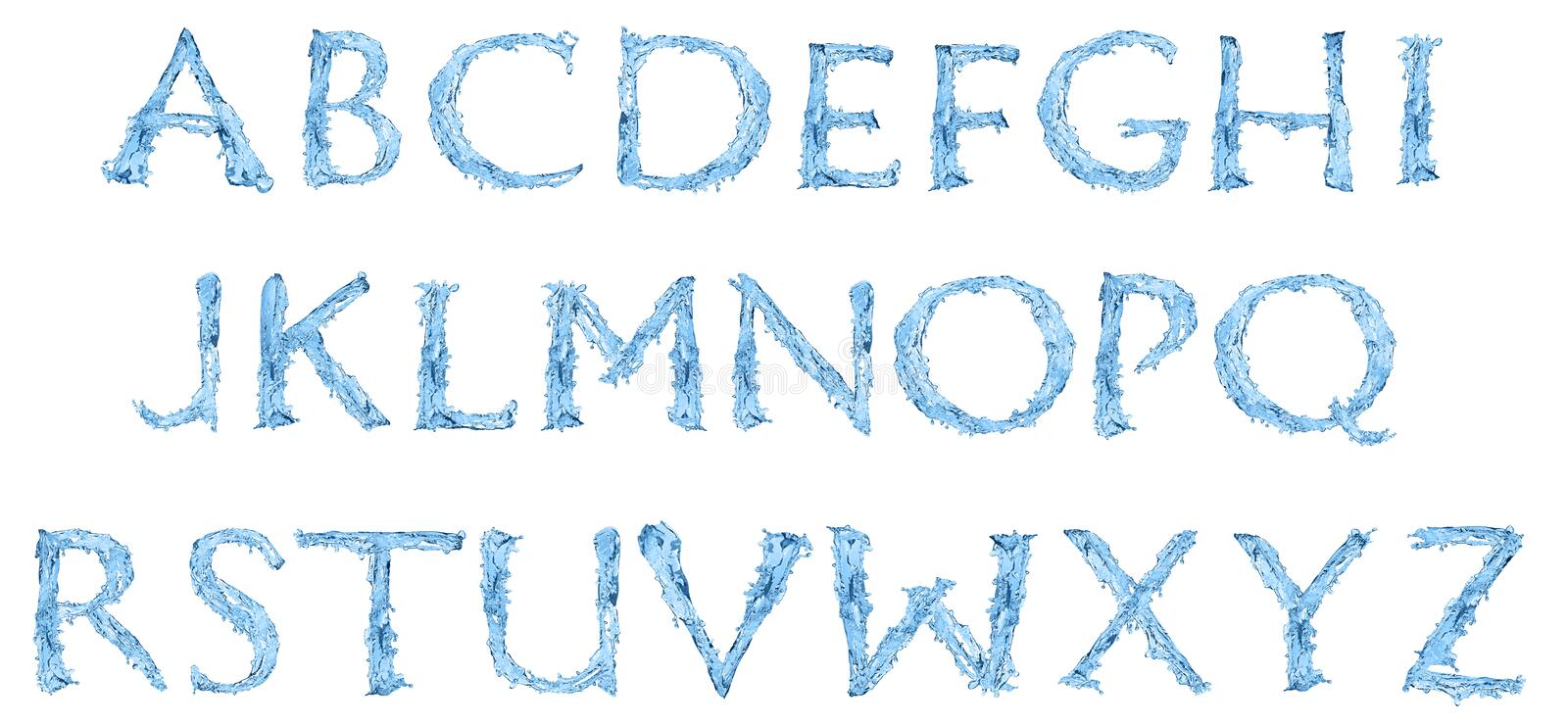 Alphabet made of frozen water vector illustration