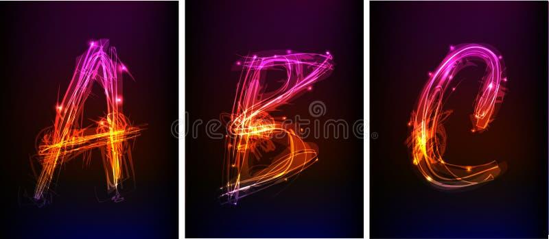 Alphabet made of neon light stock illustration