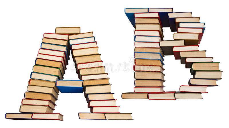 Alphabet made out of books, letters A and B. Alphabet made out of old books, letters A and B stock photos