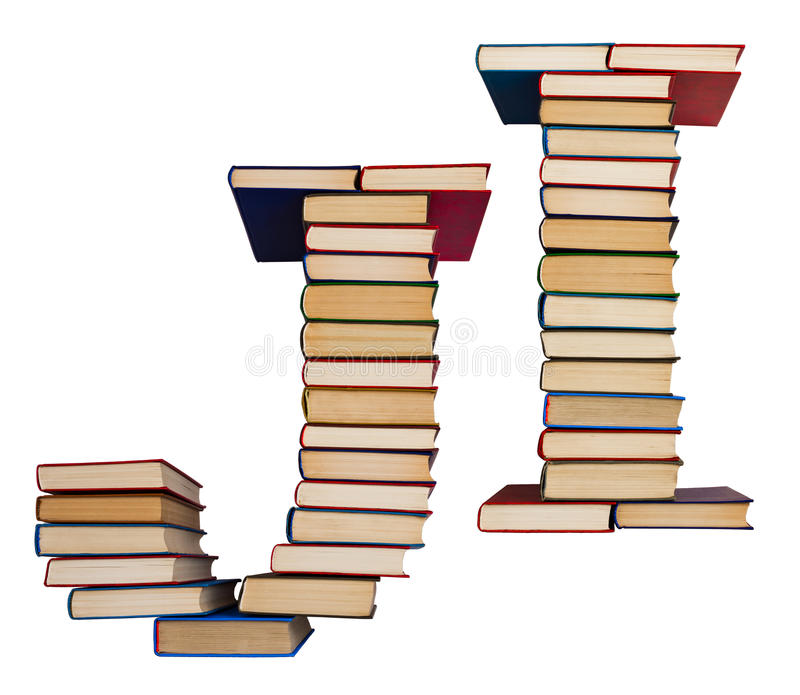 Alphabet made out of books, letters J and I. Alphabet made out of old books, letters J and I royalty free stock photography