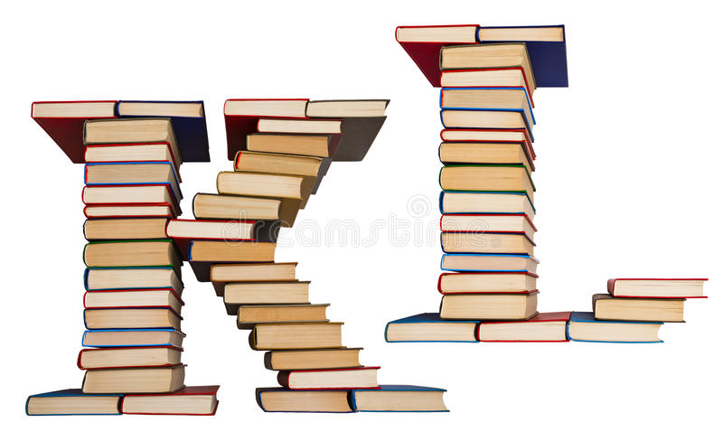 Alphabet made out of books, letters K and L. Alphabet made out of old books, letters K and L royalty free stock images