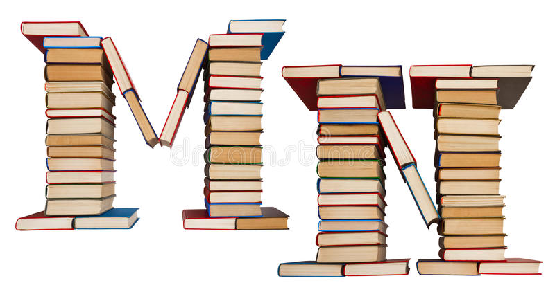 Alphabet made out of books, letters M and N. Alphabet made out of old books, letters M and N stock photo