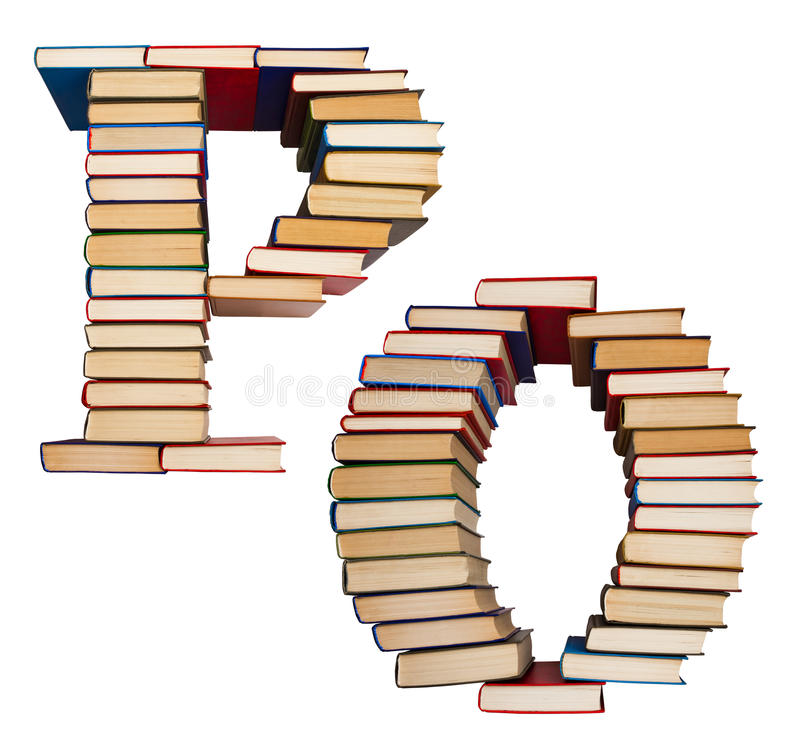 Alphabet made out of books, letters P and O. Alphabet made out of old books, letters P and O royalty free stock image