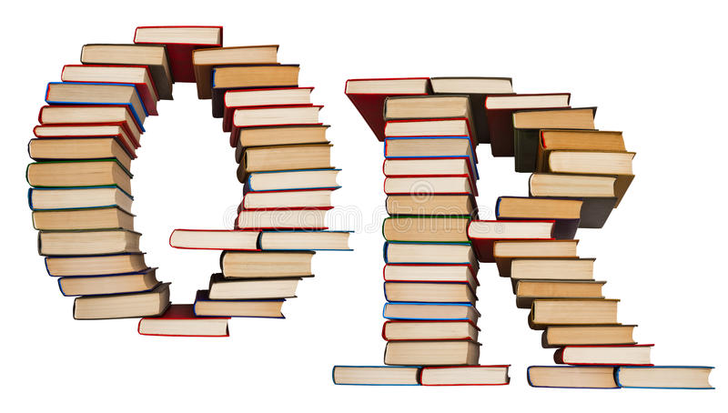 Alphabet made out of books, letters Q and R. Alphabet made out of old books, letters Q and R royalty free stock photos
