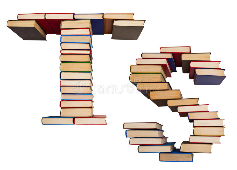 Alphabet made out of books, letters T and S. Alphabet made out of old books, letters T and S royalty free stock image