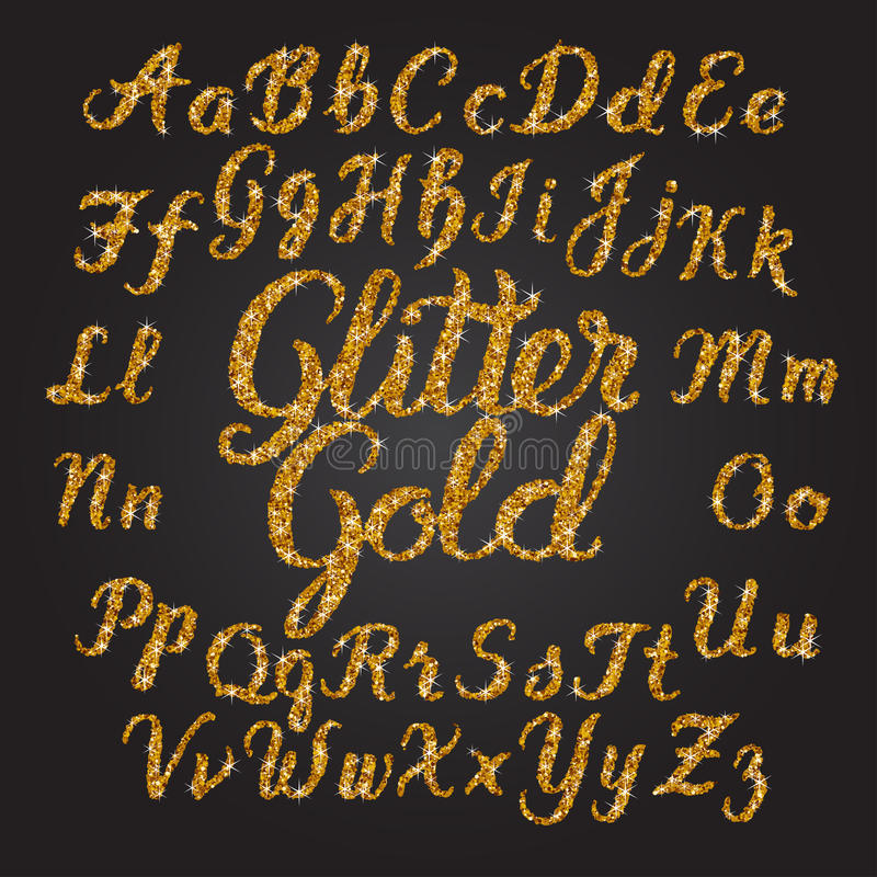 Alphabet manuscrit d'or de scintillement illustration libre de droits