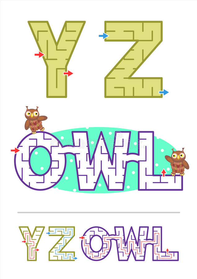 Download Alphabet Maze Games Y Z And Word OWL Stock Vector