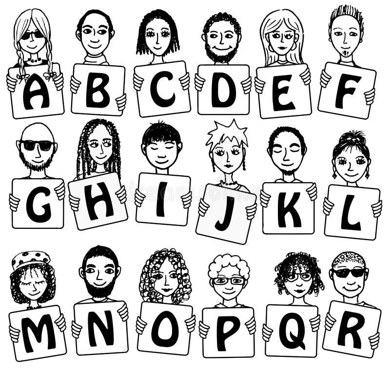 Alphabet mignon avec les visages tirés par la main illustration de vecteur