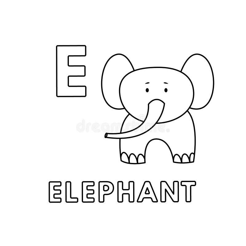 Alphabet mignon d'animaux de bande dessin?e de vecteur Pages de coloration d'?l?phant illustration stock