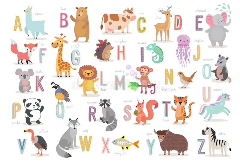 Alphabet mignon d'animaux pour l'éducation d'enfants Caractères tirés par la main drôles de style illustration stock