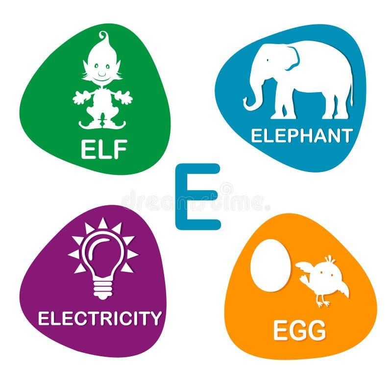 Alphabet mignon dans le vecteur Lettre d'E pour Elf, l'éléphant, l'électricité et l'oeuf illustration stock
