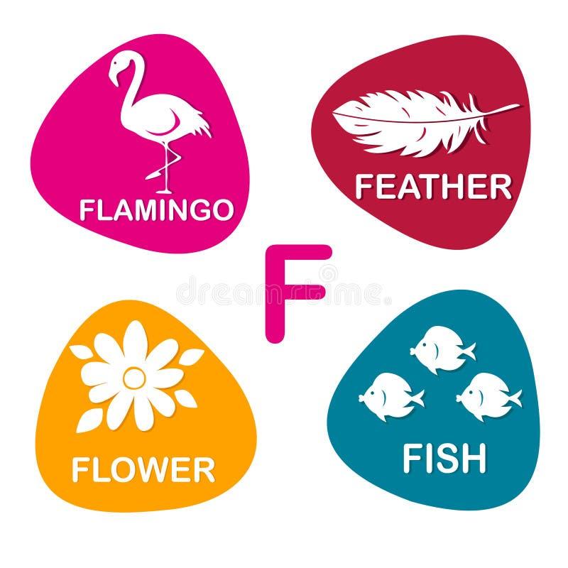 Alphabet mignon dans le vecteur Lettre de F pour le flamant, la plume, la fleur et les poissons illustration stock
