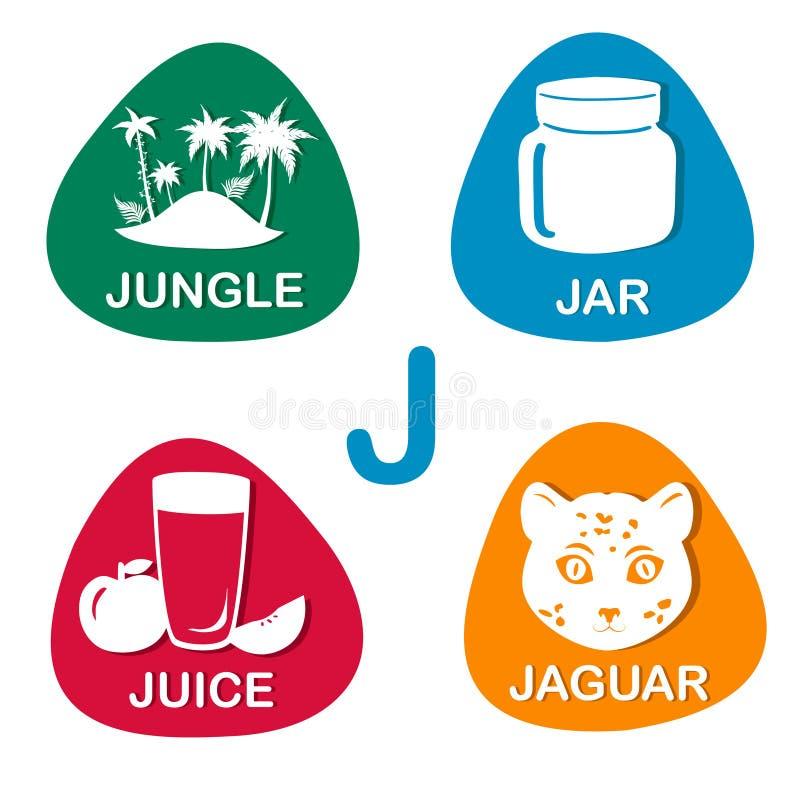 Alphabet mignon dans le vecteur Lettre de J pour la jungle, le pot, le jus et le jaguar illustration libre de droits