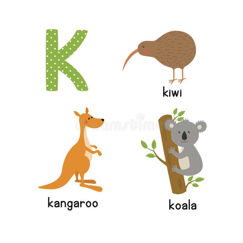 Alphabet mignon de zoo dans le vecteur Lettre de K Animaux drôles de bande dessinée : kangourou, koala, oiseau de kiwi illustration libre de droits