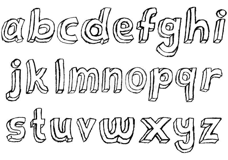 Alphabet minuscule tiré par la main sale illustration stock