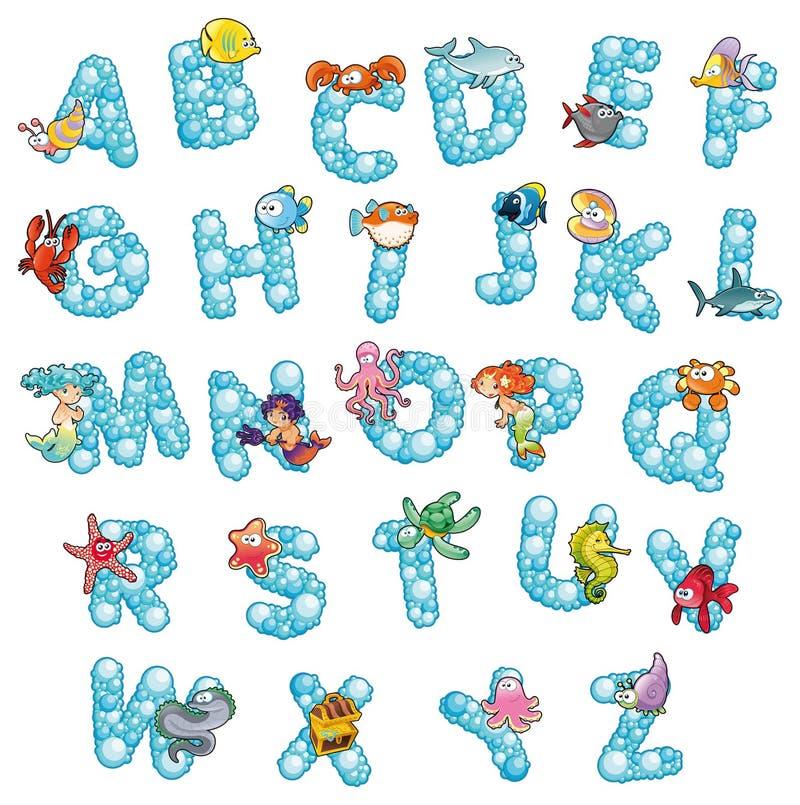 Alphabet mit Fischen und Luftblasen.