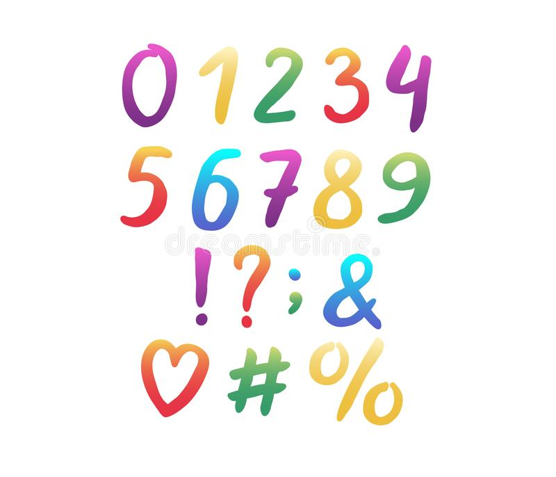 Alphabet modern design. Hand brush font. Rainbow color. Numbers and punctuation marks. EPS 10 vector illustration