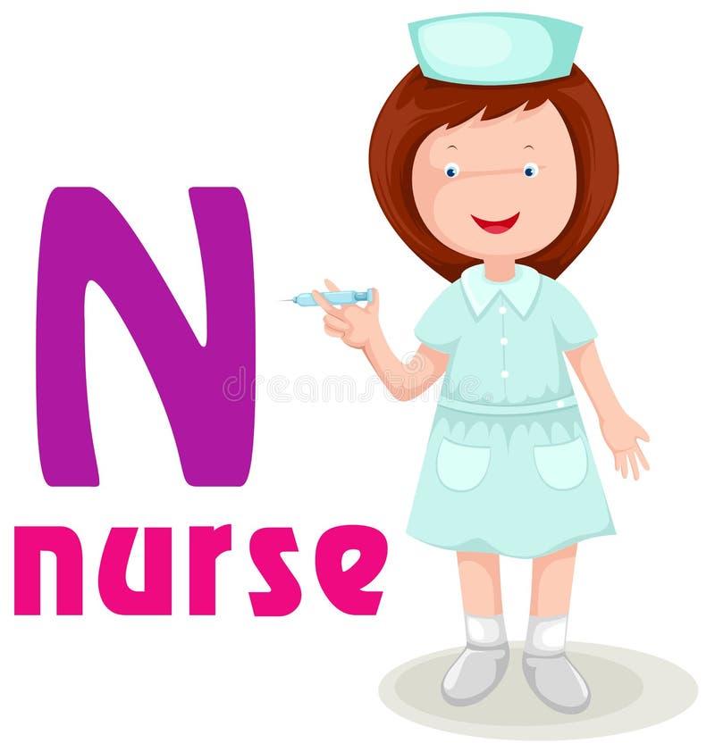 alphabet N avec l'infirmière illustration de vecteur