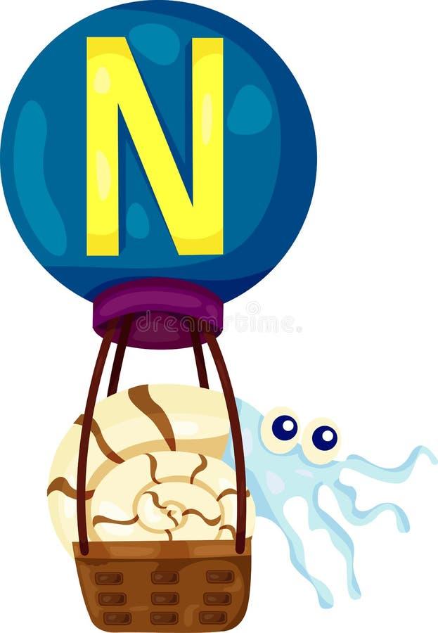 Alphabet N pour le Nautilus illustration de vecteur