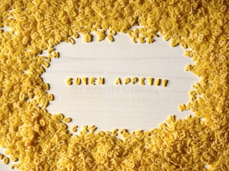Alphabet noodles, Bon appetit stock photo
