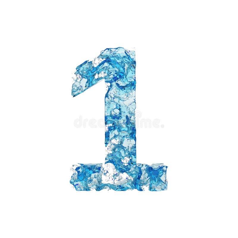 Alphabet numéro 1 Police liquide faite d'eau transparente bleue 3d rendent d'isolement sur le fond blanc illustration stock