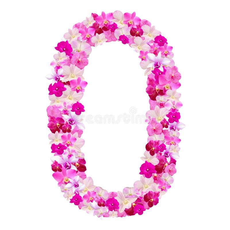 Alphabet numéro zéro des fleurs d'orchidée d'isolement sur le blanc photo stock