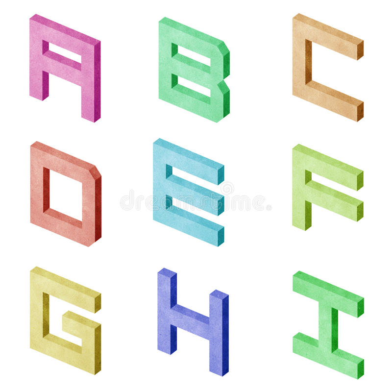 Download Alphabet Number Recycled Paper Craft Stock Illustration - Illustration: 20634136