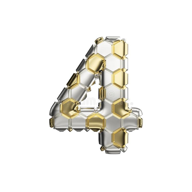 Alphabet number 4. Soccer font made of silver and gold football texture. 3D render isolated on white background. royalty free illustration