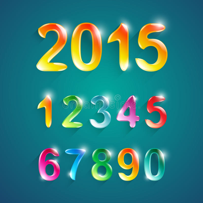 Alphabet numbers crystal colors style.Vector illustration. stock illustration