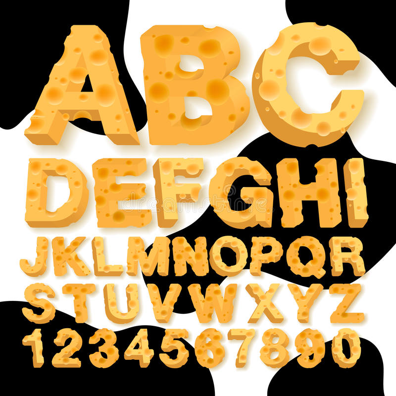 Alphabet and numbers made of cheese stock illustration