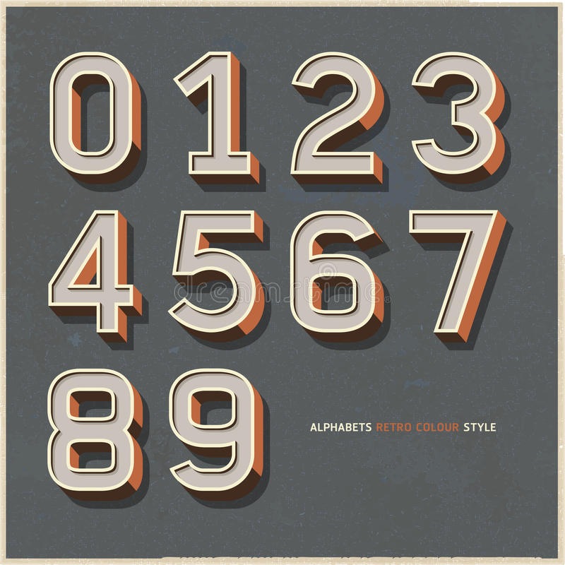 Alphabet numbers retro colour style. stock illustration