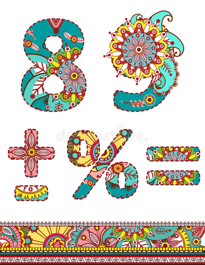 Alphabet numbers retro floral style. Vector. royalty free illustration