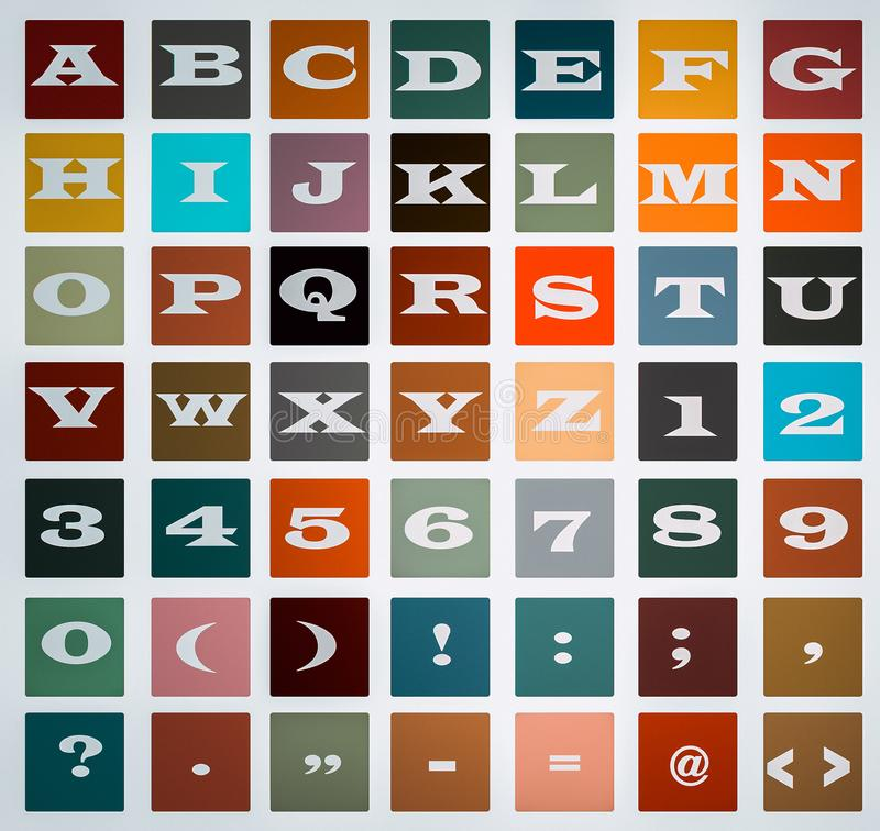 Alphabet and numbers,symbols Blocks Eps file available. stock photo