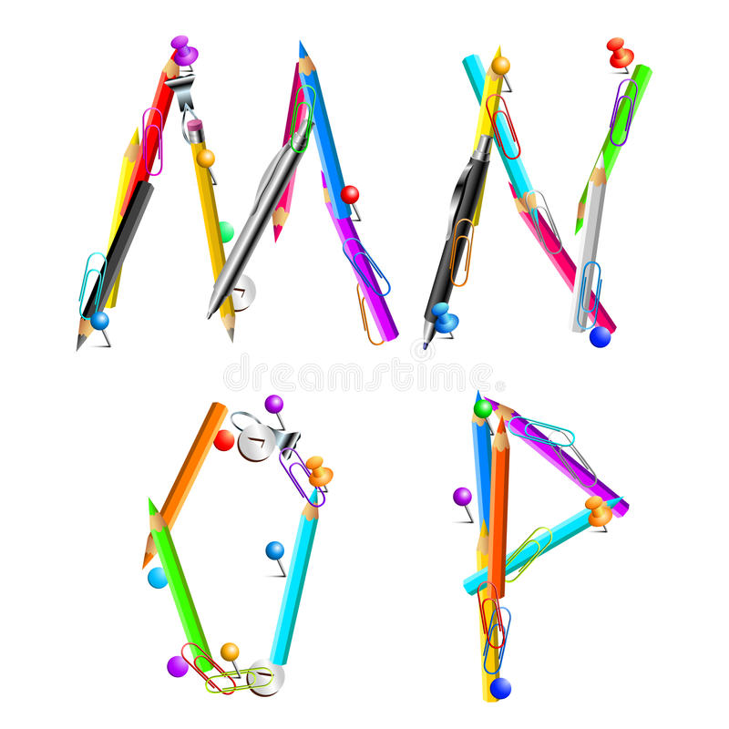 Alphabet office MNOP. Letters MNOP composed of stationery, this illustration may be useful as designer work royalty free illustration