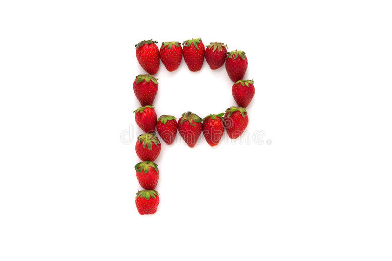 Alphabet P , letter from group of strawberries are arranged. Top view. Isolated on white background royalty free stock photos